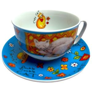 Cat lover Cup and plate stokes tables